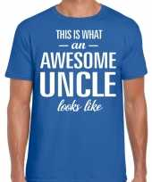 Awesome uncle oom cadeau t-shirt blauw heren
