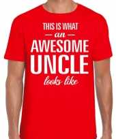 Awesome uncle oom cadeau t-shirt rood heren