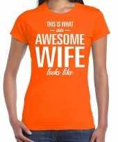 Awesome wife echtgenote cadeau t-shirt oranje dames