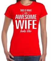 Awesome wife echtgenote cadeau t-shirt rood dames