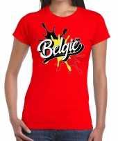 Belgie t-shirt spetter rood dames