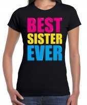 Best sister ever beste zus ooit fun t-shirt zwart dames