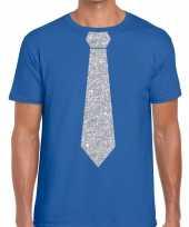 Blauw fun t-shirt stropdas glitter zilver heren