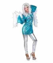 Blauwe 70s disco verkleedkleding shirt dames