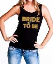 Bride to be gouden tekst tanktop mouwloos shirt zwart dames