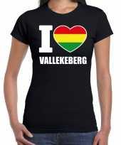 Carnaval i love vallekeberg t-shirt zwart dames