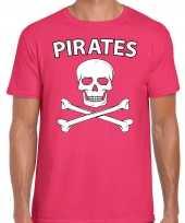 Carnavalskleding fout piraten shirt roze heren