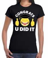 Congrats u did it t-shirt geslaagd afgestudeerd zwart dames