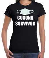 Corona survivor t-shirt zwart dames