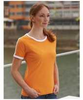 Dames t-shirt oranje wit