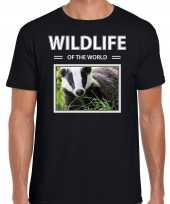 Das t-shirt dieren foto wildlife of the world zwart heren