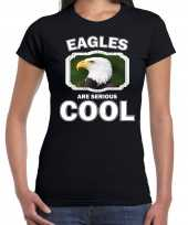 Dieren arend t-shirt zwart dames eagles are cool shirt