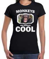 Dieren chimpansee t-shirt zwart dames monkeys are cool shirt
