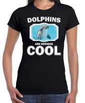 Dieren dolfijn t-shirt zwart dames dolphins are cool shirt