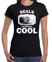 Dieren grijze zeehond t-shirt zwart dames seals are cool shirt