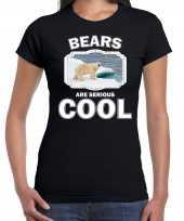 Dieren ijsbeer t-shirt zwart dames bears are cool shirt