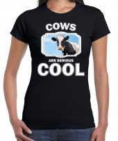 Dieren koe t-shirt zwart dames cows are cool shirt