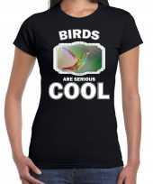 Dieren kolibrie vogel t-shirt zwart dames birds are cool shirt