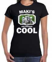 Dieren maki t-shirt zwart dames makis are cool shirt