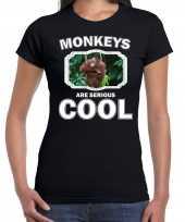 Dieren orangoetan t-shirt zwart dames monkeys are cool shirt