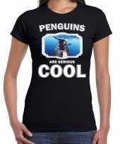 Dieren pinguin t-shirt zwart dames penguins are cool shirt