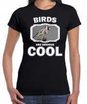 Dieren putter vogel t-shirt zwart dames birds are cool shirt