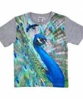Dieren shirts fotoprint pauw kinderen