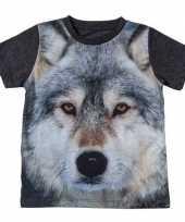 Dieren shirts fotoprint wolf kinderen