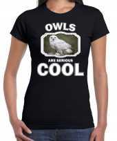 Dieren sneeuwuil t-shirt zwart dames owls are cool shirt