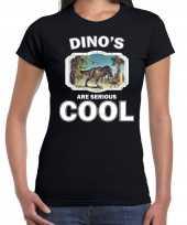 Dieren t rex dinosaurus t-shirt zwart dames dinosaurs are cool shirt