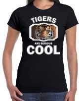 Dieren tijger t-shirt zwart dames tigers are cool shirt