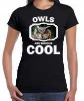 Dieren uil t-shirt zwart dames owls are cool shirt