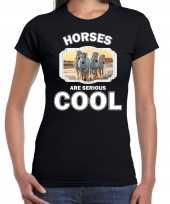 Dieren wit paard t-shirt zwart dames horses are cool shirt