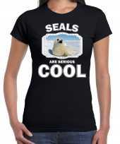 Dieren witte zeehond t-shirt zwart dames seals are cool shirt