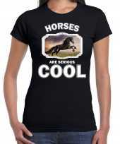 Dieren zwart paard t-shirt zwart dames horses are cool shirt