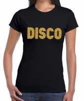 Disco gouden glitter tekst t-shirt zwart dames