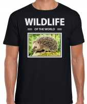 Egel t-shirt dieren foto wildlife of the world zwart heren