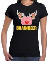 Foute kerst t-shirt braindeer zwart dames