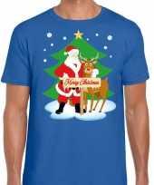 Foute kerst t-shirt kerstman rendier rudolf blauw heren