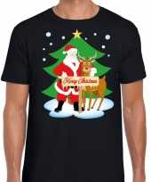 Foute kerst t-shirt kerstman rendier rudolf zwart heren