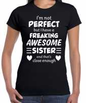Freaking awesome sister zus cadeau t-shirt zwart dames