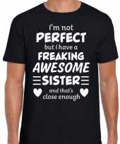 Freaking awesome sister zus cadeau t-shirt zwart heren