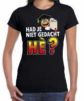 Funny emoticon geslaagden t-shirt niet gedacht he zwart dames