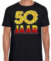 Funny emoticon t-shirt 50 jaar abraham zwart heren