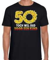 Funny emoticon t-shirt 50 toch wel oud een kind zwart heren