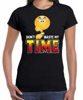 Funny emoticon t-shirt dont waste my time zwart dames