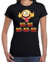 Funny emoticon t-shirt ne ne ne ne ne zwart dames