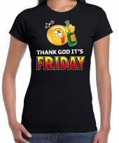 Funny emoticon t-shirt thank god its friday zwart dames