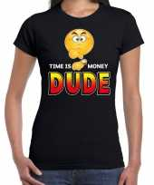 Funny emoticon t-shirt time is money dude zwart dames