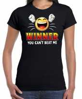 Funny emoticon t-shirt winner you cant beat mezwart dames